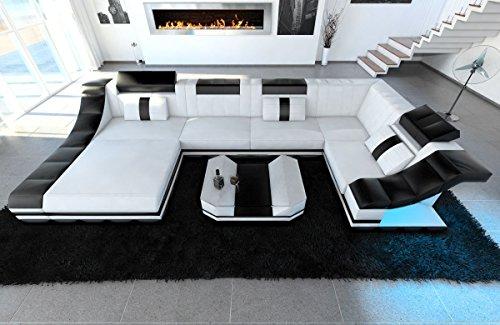 Sofa Dreams Leder Wohnlandschaft Turino U Form Weiss-Schwarz