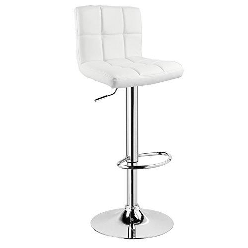 WOLTU® 1 x Barhocker Barstuhl Tresenhocker Stuhl drehbar und höhenverstellbar Tresen Hocker Kunstleder Weiss 9108-1
