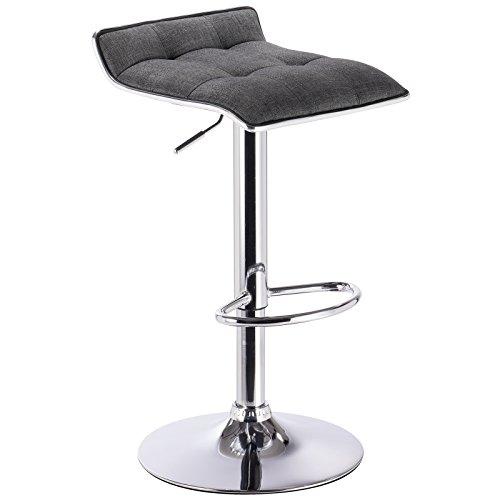WOLTU BH33dgr-1 Design Hocker Barhocker, stufenlose Höhenverstellung, verchromter Stahl, Antirutschgummi, Leinen, gut gepolsterte Sitzfläche, Dunkelgrau