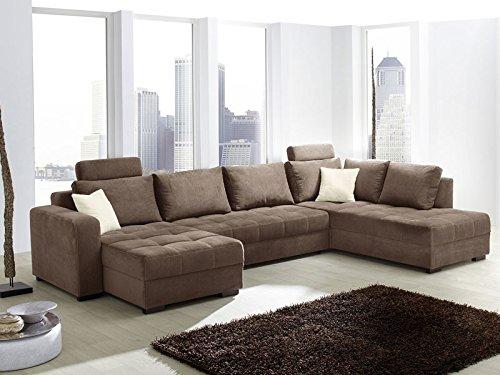 Wohnlandschaft Antigua Mikrofaser braun, 357x222x162cm, Bettfunktion Sofa Couch Polsterecke