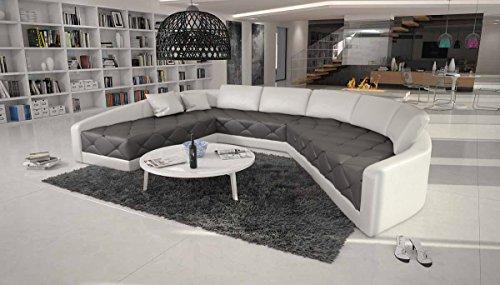 XXL Wohn-Landschaft mit Kunstleder Bezug 380x290 cm halbrund grau / weiß | Retosec | Designer Eck-Sofa mit gesteppter Sitzfläche Ottomane rechts | Couch für Wohnzimmer grau / weiss 380cm x 290cm