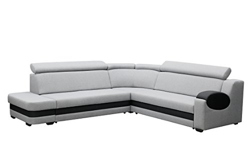 große Ecksofa Sofa Eckcouch Couch mit Schlaffunktion und Bettkasten mit Hocker Ottomane L-Form Schlafsofa Bettsofa Polstergarnitur Wohnlandschaft - Denver (Ecksofa Links, Grau)