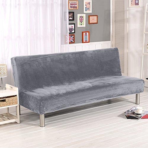 iShine Klappsofa Überwürfe Sofabezug Ohne Armlehnen Schlafsofa mit Stretch Sofahusse Slipcover Sofa Abdeckung in verschiedene Größe und Farbe-Silbergrau