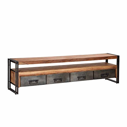 Pharao24 Loft TV Board aus Sheesham Massivholz Metall 200 cm breit
