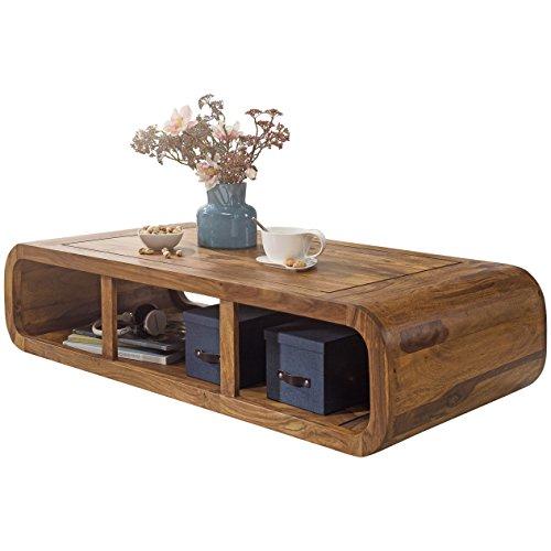 Wohnling Couchtisch Massiv Holz Sheesham 120 Cm Breit Wohnzimmer Tisch Design Dunkel Braun Landhaus Stil
