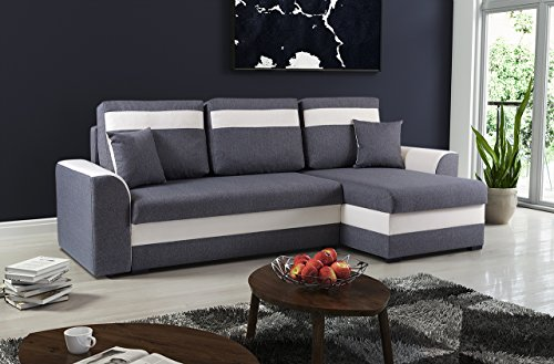 mb moebel kleines ecksofa sofa eckcouch mit schlaffunktion und zwei bettkasten ottomane l form. Black Bedroom Furniture Sets. Home Design Ideas