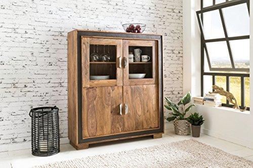 Design Highboard Karan Sheesham Massivholz mit Kunstleder 120x35x140 cm | Vitrine mit Glastüren | Kleiner Schrank im rustikalen Landhausstil
