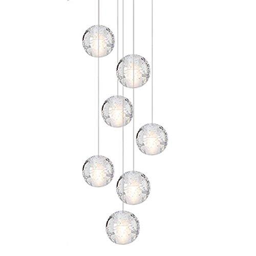 Modern LED lüster Kronleuchter Deckenleuchte Kristall Warmweiss 3000K Hängeleuchte Pendelleuchte Höhenverstellbar Φ 10cm G4*7 lampe für Wohnzimmer Esszimmer Treppenhaus Restraurant
