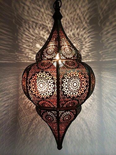 Orientalische Lampe Pendelleuchte Schwarz Malhan 50cm E14 Lampenfassung |  Marokkanische Design Hängeleuchte...