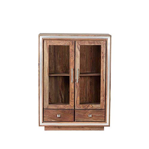 Pharao24 Highboard aus Sheesham Massivholz Glas