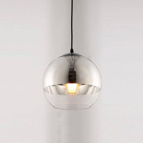 Pointhx Moderne Runde Glas Pendelleuchten Silber E27 1-Light Edison Hängelampe Höhenverstellbar Kronleuchter für Lager Restaurant Küche Deckenbeleuchtung