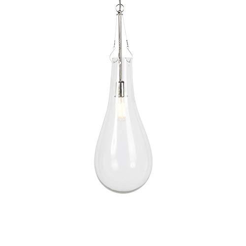 QAZQA Design Design Pendelleuchte/Pendellampe/Hängelampe/Lampe/Leuchte Glas mit Nickel - Nehru/Innenbeleuchtung/Wohnzimmerlampe/Schlafzimmer/Küche/Metall Rund LED geeignet E27 Max. 1