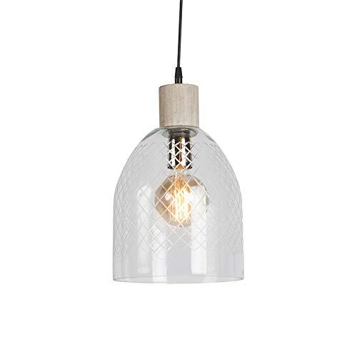 QAZQA Modern Pendelleuchte/Pendellampe/Hängelampe/Lampe/Leuchte Agha klares Glas/Innenbeleuchtung/Wohnzimmerlampe/Schlafzimmer/Küche/Holz Rund LED geeignet E27 Max. 1 x 40 Watt