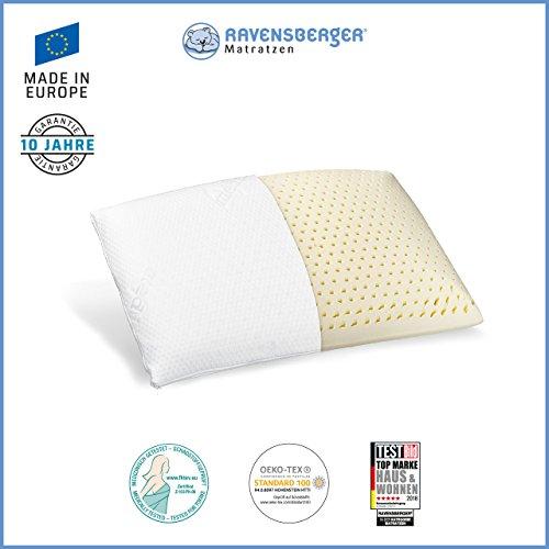 Ravensberger Matratzen® Natur Latex-Kissen 50% Naturkautschuk  Made IN Europe - 3 Jahre Garantie   Medicott-Silverguard-Bezug 40 x 60 cm