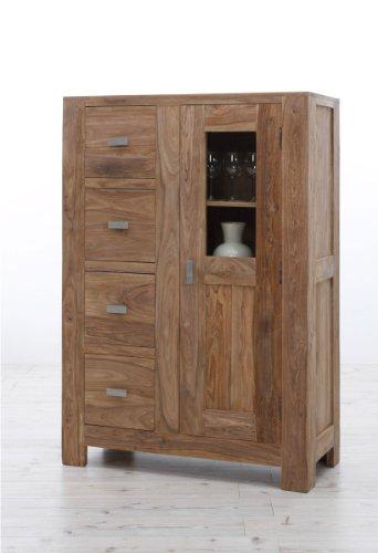 SAM® Brotschrank Wales 1501 Palisander Sheesham Vollholz 145 cm 4 Schubladen 1 Tür mit Glaseinsatz