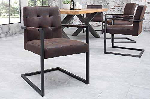 DuNord Design Esszimmerstuhl Sutton Vintage Braun Leder Freischwinger Stuhl Lederstuhl Hochwertig Esszimmer