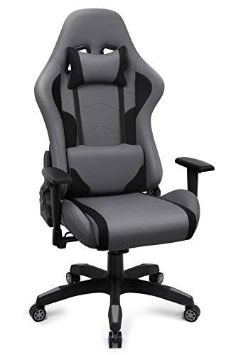 IntimaTe WM Heart Gaming Stuhl, Racing Bürostuhl Stoff, Ergonomischer Computerstuhl Drehstuhl mit Hoher Rückenlehne, Grau