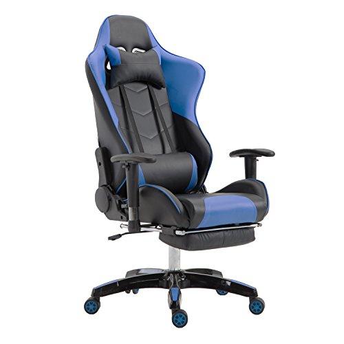 LZQ Racing Sportsitz Gamingstuhl Bürostuhl mit Fußstützen, PU Kunstleder Bürodrehstuhl, Chefsessel Schreibtischstuhl Drehstuhl mit Armlehnen, Wippfunktion und Höhenverstellbar