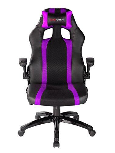 MARS GAMING MGC2BP - Professioneller Gaming-Stuhl mit Rollen (Neigung und Höhe Verstellbar, 15 Grad Neigung, Gepolsterte Kopfstütze, Klapp- und Gepolsterte Armlehnen, ergonomisch), Lila