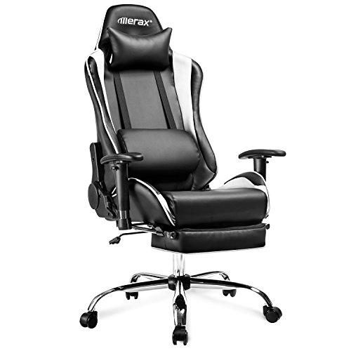 Merax Racing Stuhl Gaming Stuhl Chefsessel Ergonomisch Design Bürostuhl PU-Leder Drehstuhl Höhenverstellbarer Schreibtischstuhl mit Verstellbaren Armlehnen und Wippfunktion