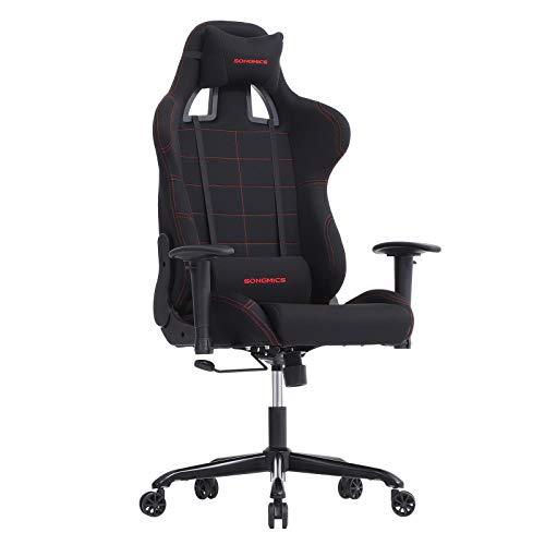 SONGMICS Bürostuhl Gaming Stuhl mit hoher Rückenlehne Formschaum gepolsterte Sitzschale Verstellbare Kopfkissen und Lendenkissen für Soho- oder Büroarbeit