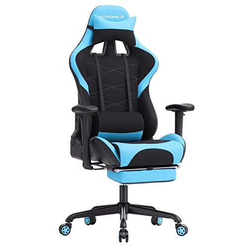 SONGMICS Bürostuhl Racing Stuhl Gamingstuhl mit Hoher Rückenlehne Formschaum Gepolsterte Sitzschale Verstellbare Kopfkissen und Lendenkissen für Soho- Oder Büroarbeit