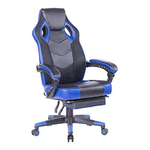 Wolmics Gaming-Stuhl mit Fußstütze Racing Computer PC-Stuhl Ergonomischer Hoher Rücken-Schwenker Executive Bürostuhl Mesh Leder Liegender Stuhl