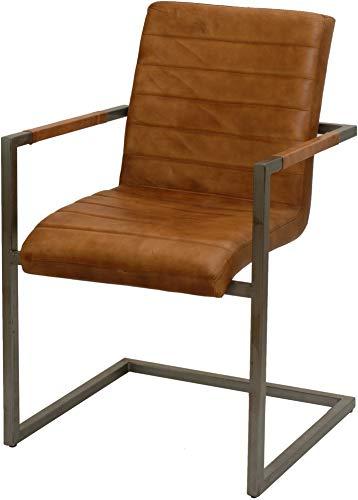 korb.outlet Echtes Leder Esszimmerstuhl mit Armlehne Freischwinger Armlehnstuhl Esszimmer Sessel Stuhl Lederstuhl Sessel Eisen