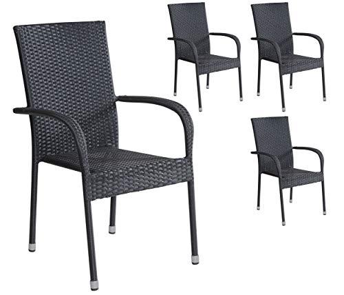 4er Set Stapelstühle Armlehnstühle Gartenstühle in schwarz mit Armlehnen exkl. Auflage stapelbar für Garten, Terrasse, Balkon oder Bistro - Gartenmöbel Stühle Terrassenstuhl Balkonstuhl Stuhl Gastro