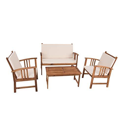 EstexoH&G Lounge Sitzgruppe Benno aus Akazienholz mit 1 Tisch, 1 Bank, 2 Stühle & Auflagen in Creme