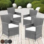 MIADOMODO Rattansessel mit Armlehne Stuhl Sessel Garten Stuhl Rattan Outdoor im Set 4 Stück mit Sitzkissen in verschiedenen Farben