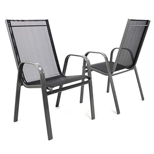 Nexos 2er Set Gartenstuhl Stapelstuhl Stapelsessel Hochlehner Terrassenstuhl – Textilene Stahlgestell – Farbe: Rahmen dunkelgrau/Bespannung schwarz