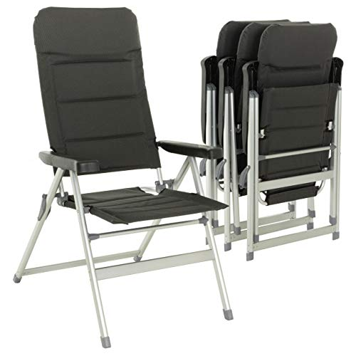 Nexos 4er Set Premium Klappstuhl Relax-Stuhl Campingstuhl Klappsessel – für Garten Terrasse Balkon – klappbarer Gartenstuhl gepolstert Alu - schwarz grau