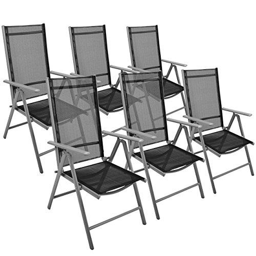 Nexos 6er Set Klappstuhl Gartenstuhl Campingstuhl Liegestuhl – Sitzmöbel Garten Terrasse Balkon – klappbarer Stuhl aus Aluminium & Kunststoff - schwarz