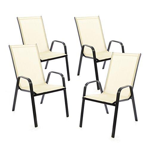 SONLEX 4er Set Gartenstuhl Stapelstuhl Stapelsessel Hochlehner Terrassenstuhl – Textilene Stahlgestell – pflegeleicht robust stapelbar – Farbe: Rahmen dunkelgrau/Bespannung Creme