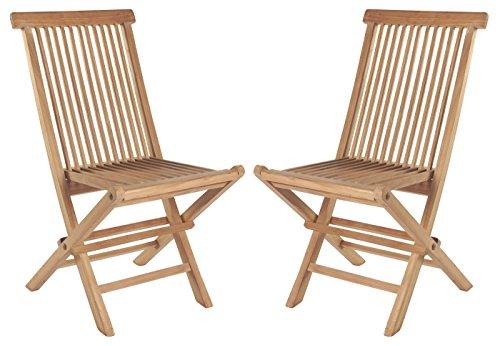 Wholesaler GmbH 2er Set Klappstühle Hochlehner Gartenstuhl aus Teak-Holz für Balkon Garten
