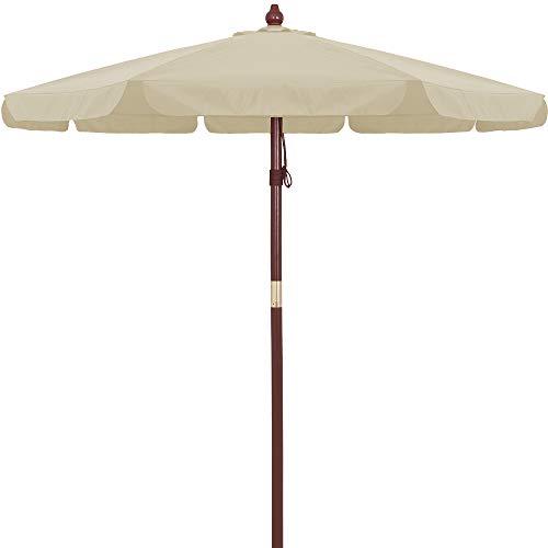Deuba Holz-Sonnenschirm Gartenschirm Terrassenschirm - Ø 330cm mit Seilzug und Windöffnung