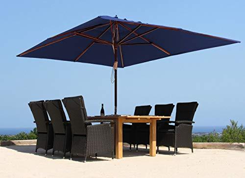 GRASEKAMP Qualität seit 1972 Holz Sonnenschirm 300x300cm Polyester Blau Gartenschirm Sonnenschutz UV50+ Quadratisch