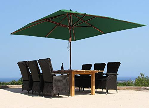GRASEKAMP Qualität seit 1972 Holz Sonnenschirm 300x300cm Polyester Grün Gartenschirm Sonnenschutz UV50+ Quadratisch