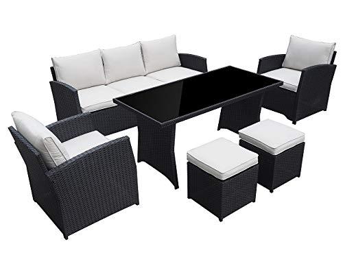 Garten Loungemöbel Havanna in schwarz Gartenmöbel Essgruppe lounge aus Polyrattan von Jet-Line