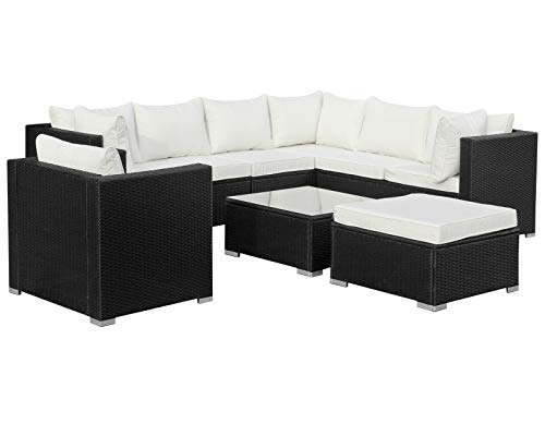 Hansson Polyrattan Lounge Sitzgruppe Gartenmöbel Garnitur Poly Rattan 7 Sitzplätze
