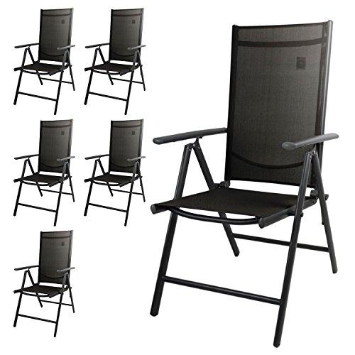 Multistore 2002 Wohaga® 6er Set Hochlehner, 2x2 Textilenbespannung Schwarz, Aluminiumgestell Anthrazit, Rückenlehne 7-Fach verstellbar, klappbar