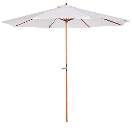 Outsunny® Sonnenschirm Holzschirm Gartenschirm Balkonschirm Kurbelschirm, Pappel, Grau/Creme, Φ2.7x2.45m/200x150x230cm