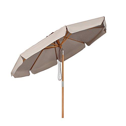 Sekey Sonnenschirm Ø 300 cm Holz-Sonnenschirm Marktschirm Gartenschirm Terrassenschirm Rund UV50+