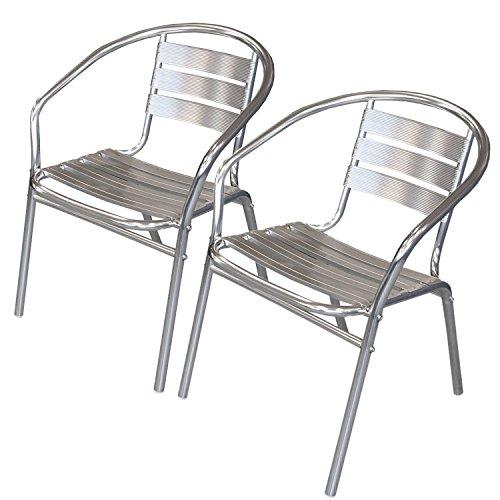 Wohaga® 2 Stück Bistrostuhl mit Armlehnen, Aluminium Silber, Stapelstuhl Gartenstuhl Balkonstuhl Terrassenstuhl Armlehnstuhl