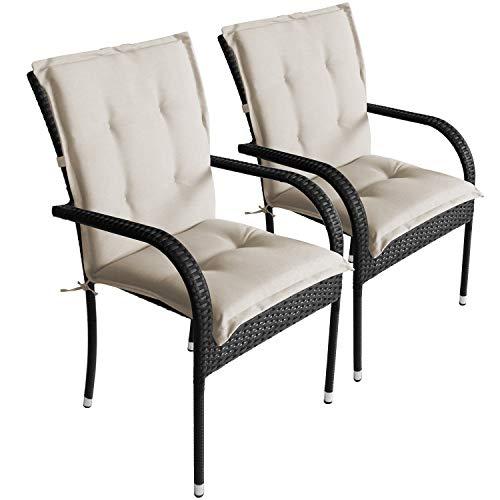 Wohaga 2er Set Komfort Sitzauflage Beige, 103x49x5cm, UV- & Wasserbeständig, Niedriglehner Sitzkissen, Outdoorkissen