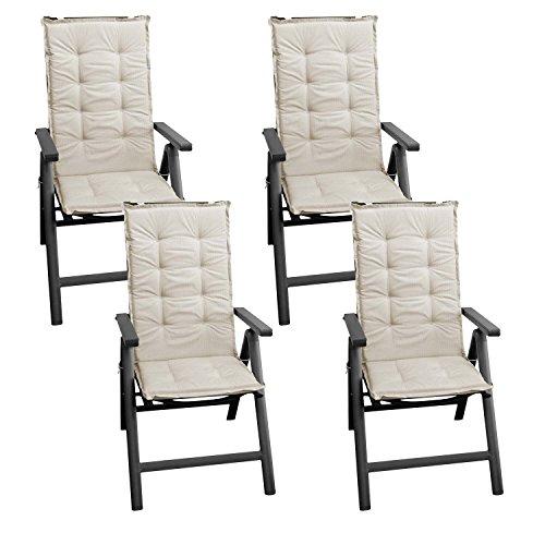 Wohaga 4 Stück Sitzkissen Auflage für Gartenstühle Stuhlauflage Sitzpolster Polsterauflage Gartenstuhlauflage Sitzauflage Sitzpolsterauflage Sitzkissenpolster für Hochlehner 112x45cm - 4cm dick/beige