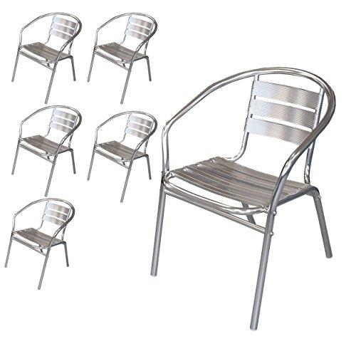Wohaga® 6 Stück Bistrostuhl mit Armlehnen, Aluminium Silber, Stapelstuhl Gartenstuhl Balkonstuhl Terrassenstuhl Armlehnstuhl