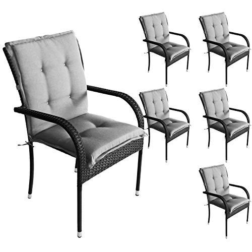 Wohaga 6er Set Komfort Sitzauflage 103x49x5cm, Grau, UV- & Wasserbeständig, Niedriglehner Sitzkissen, Outdoorkissen