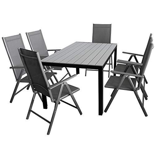 wohaga 7tlg gartenm bel set gartentisch aluminiumrahmen. Black Bedroom Furniture Sets. Home Design Ideas